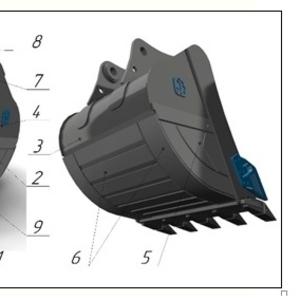 Ковш усиленный с межзубьевой защитой и протектором HD-2.1, 2 для JCB